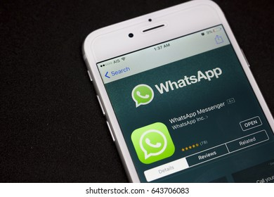 BUNG KAN, THAILAND - MAY 06, 2017: iphone display whatsapp app on apple app store