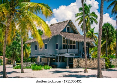 Bungalow on a tropical island. Wooden house on the beach in a palm grove