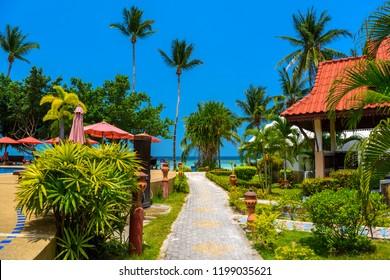 Bungalows with red roof, Haad Yao beach, Koh Phangan island, Suratthani, Thailand