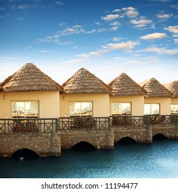The bungalows are right on the water