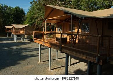 Bungalows in Safari Park in Dvůr Králové nad Labem, Eastern Bohemia, Czech Republic, Europe  - Shutterstock ID 1996227140