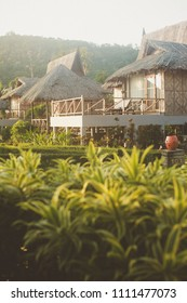 Bungalows in Thailand at sunrise.