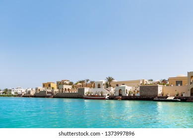 Bungalows and villas near the water in El Gouna town, Egypt.