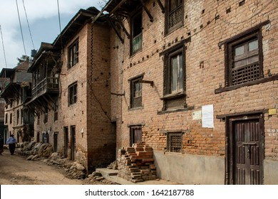 BUNGAMATI, NEPAL - NOV 8, 2019: a house still shows the cracks and serious damage suffered following the 2015 earthquake, Bungamati, Nepal, on Nov 8, 2019 .