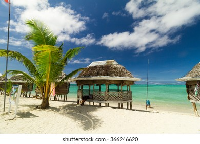 Bungaolow on sunny beach at Samoa island in south pacific