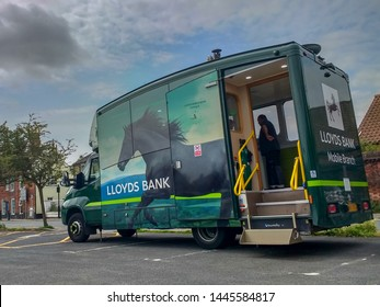 BUNGAY, SUFFOLK, ENGLAND, UK - JULY 8, 2019: Lloyds Bank mobile branch van parked in car park.