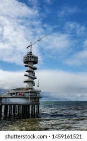 Bungy Jump and Zipline over the North Sea located at the Pier in Scheveningen The Hague Netherlands