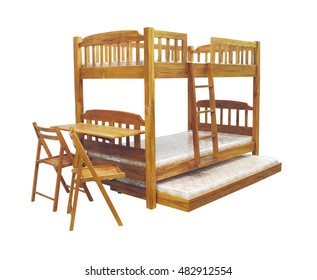Bunk bed isolated on white background with clipping path.