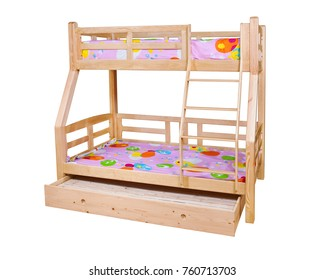 Bunk bed isolated over white background with clipping path