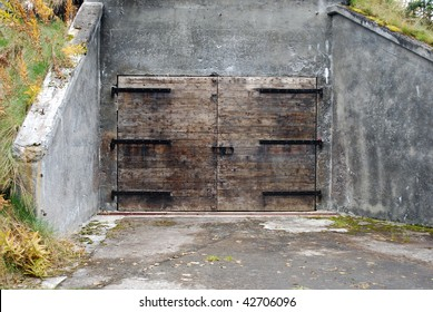 Bunker doors to old ammunition bunker on Kodiak Island, Alaska