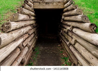 A Bunker entrance build with old wooden laws at Fort Stanwix in Rome, New York.