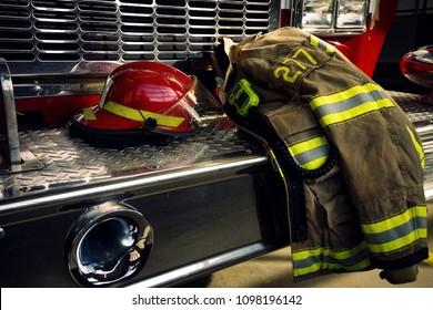 Bunker gear on firetruck