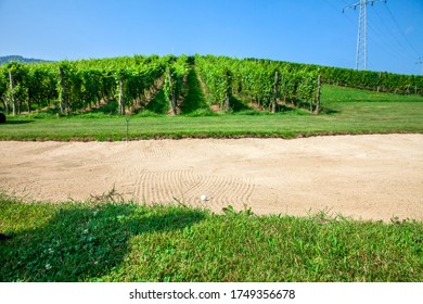 A bunker at a golf course at Zlati Gric with a vineyard in the background at Slovenia - Shutterstock ID 1749356678