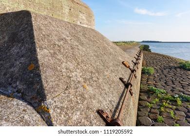 Bunker or Kazemat near Kornwerderzand in The Netherlands, used to defend The Afsluitdijk against Nazi Germany in World War 2