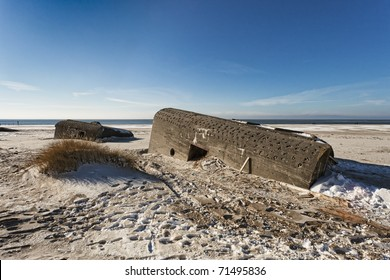 Bunker on a Danish beach. Fortification by the North Sea coast from world war 2