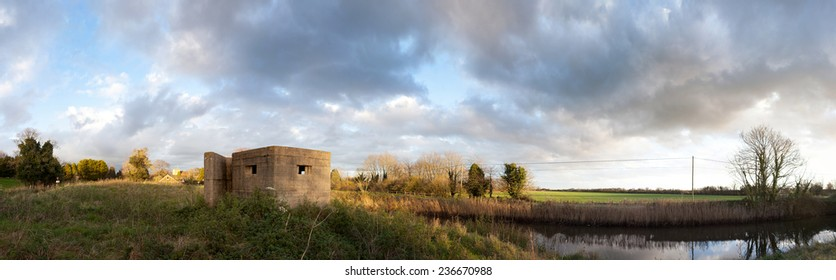 bunker pillbox from second world war in Rye. Army fortification on military canal in England