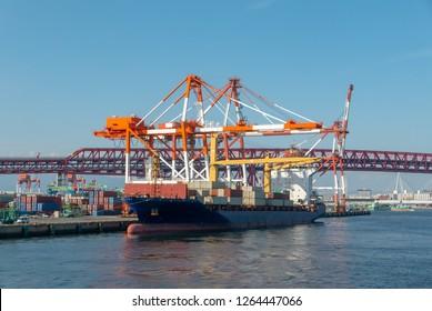 Bunkering process of a tanker at Osaka port, Osaka, Japan.