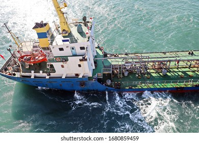 Bunkering of a ship on the open roadstead of the port of Dalian, China. January,2020.