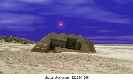 bunkers and concrete constructions on the beach in the Danish part of the Atlantic Wall. It was a coastal defense line along the west coast of Jutland in the second world war. edited photo. star.
