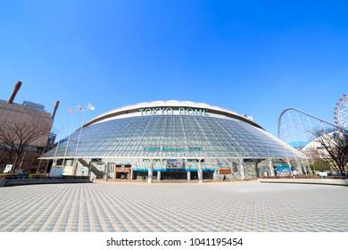 Bunkyo, Tokyo, Japan - February 14, 2018: Tokyo Dome: Tokyo Dome is a stadium in Bunkyo, Tokyo, Japan. It has a maximum total capacity of 55,000.