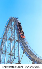 Bunkyo, Tokyo, Japan - February 14, 2018: Thunder Dolphin: Thunder Dolphin is a roller coaster in Tokyo Dome City Attractions, in Tokyo, Japan.