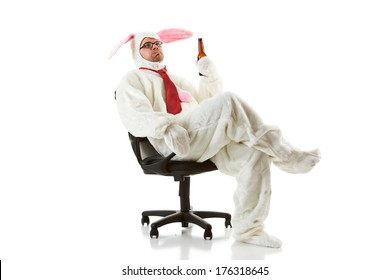 Bunny: Business Rabbit in Chair Having a Beer