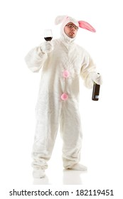 Bunny: Drunk Easter Bunny with Bottle Of Wine