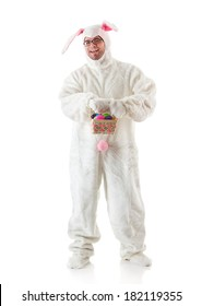 Bunny: Man In Rabbit Suit Holding Easter Basket Of Eggs