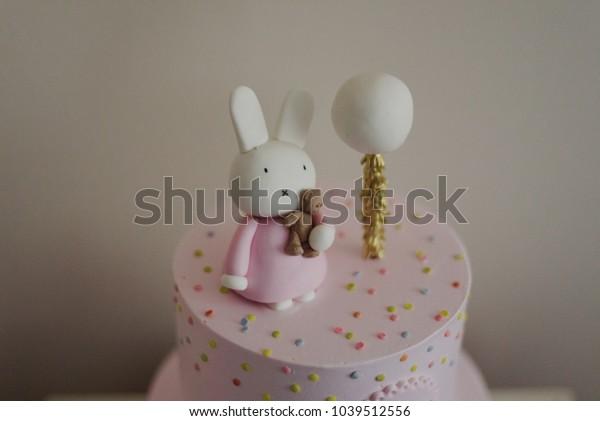 Awesome Bunny Rabbit Birthday Cake Stock Photo Edit Now 1039512556 Personalised Birthday Cards Veneteletsinfo
