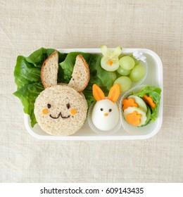Bunny rabbit lunch box, fun food art for kids