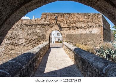 BUNOL, SPAIN - AUGUST 2018. Bridge leading to castle central square