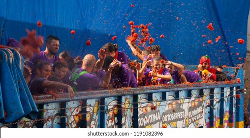 BUNOL, SPAIN - AUGUST 30, 2018: People during La Tomatina festival.