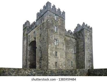 "Bunratty Castle (Irish: Caisleán Bhun Raithe, meaning ""Castle at the Mouth of the Ratty"") is a large tower house in County Clare, Ireland. Isolated on white background."