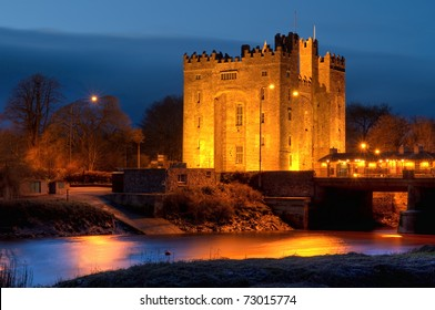 Bunratty castle in west Ireland at night