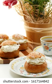 buns with marzipan and whipped cream, a shrove tide delicacy