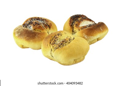 Buns with poppy seeds and sugar isolated on white