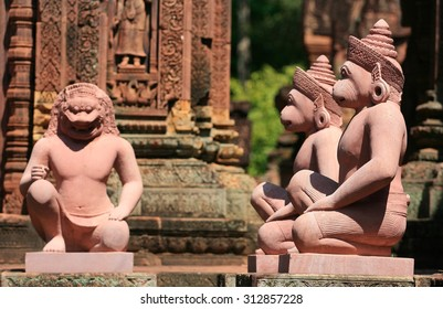 Buntaysari at Cambodia detail of a temple with stone sculpture in Angkor