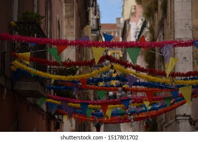 Bunting and flags down a sidestreet in Lisbon