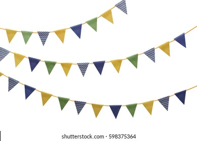 Bunting party flags made from scrap booking paper isolated on white background