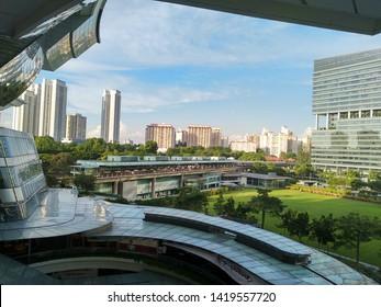 Buona Vista, Singapore – June 8 2019: Open field near One North, silicon valley Singapore, Buona Vista mass rapid transit (MRT) station.