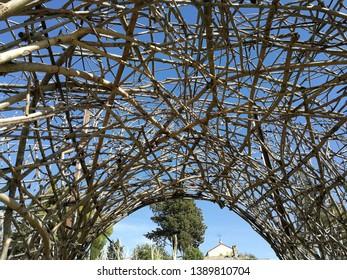 Buonalbergo, Campania, Italy - September 24th 2017: Arch made with intertwining branches near the Sanctuary of the Madonna della Macchia