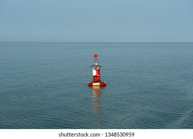 Buoy lighthouse in the sea
