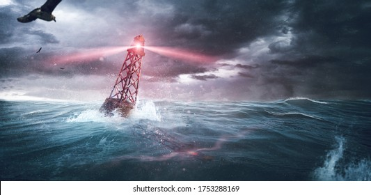 Buoy in the sea in a stormy sea