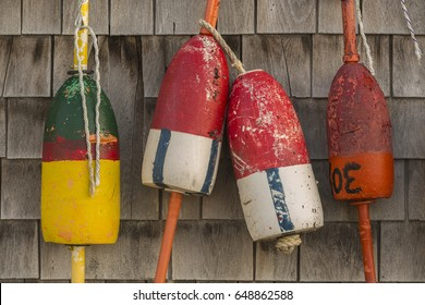 Buoys hang on the side of a lobster shack in southern Maine