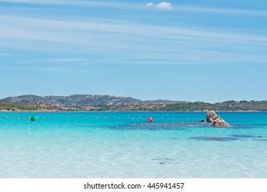 buoys in Lu Impostu turquoise sea, Sardinia