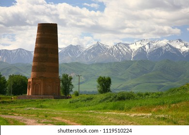 The Burana Tower in the Chuy Valley at northern  of the country's capital Bishkek, Kyrgyzstan