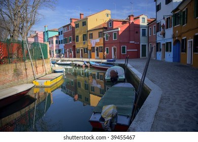 Burano canal with colored houses