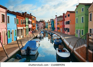 Burano colorful historical buildings and canal. Venice, Italy.