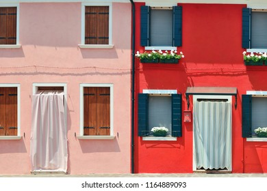 Burano colorful historical buildings closeup view. Venice, Italy.
