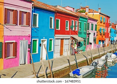 Burano colorful houses on a clear day